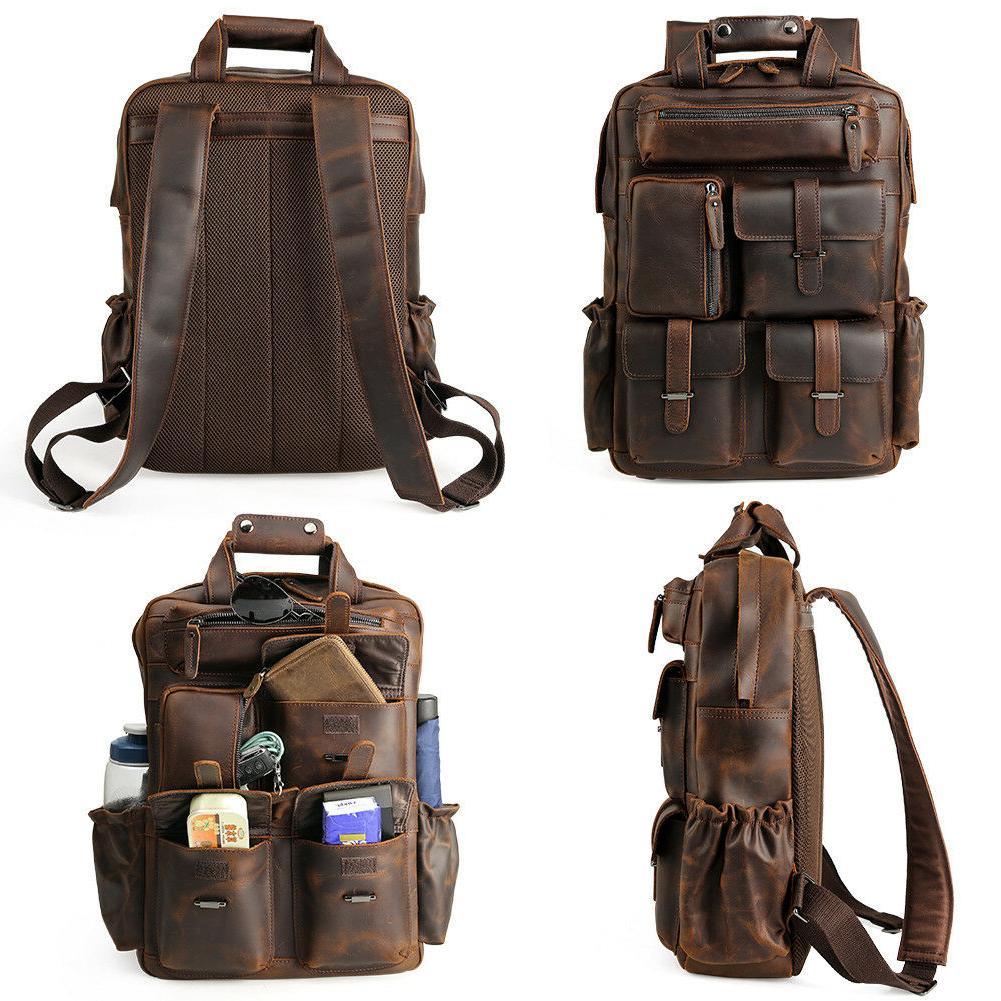 """Vintage Men Backpack 17"""" Hiking Travel On"""