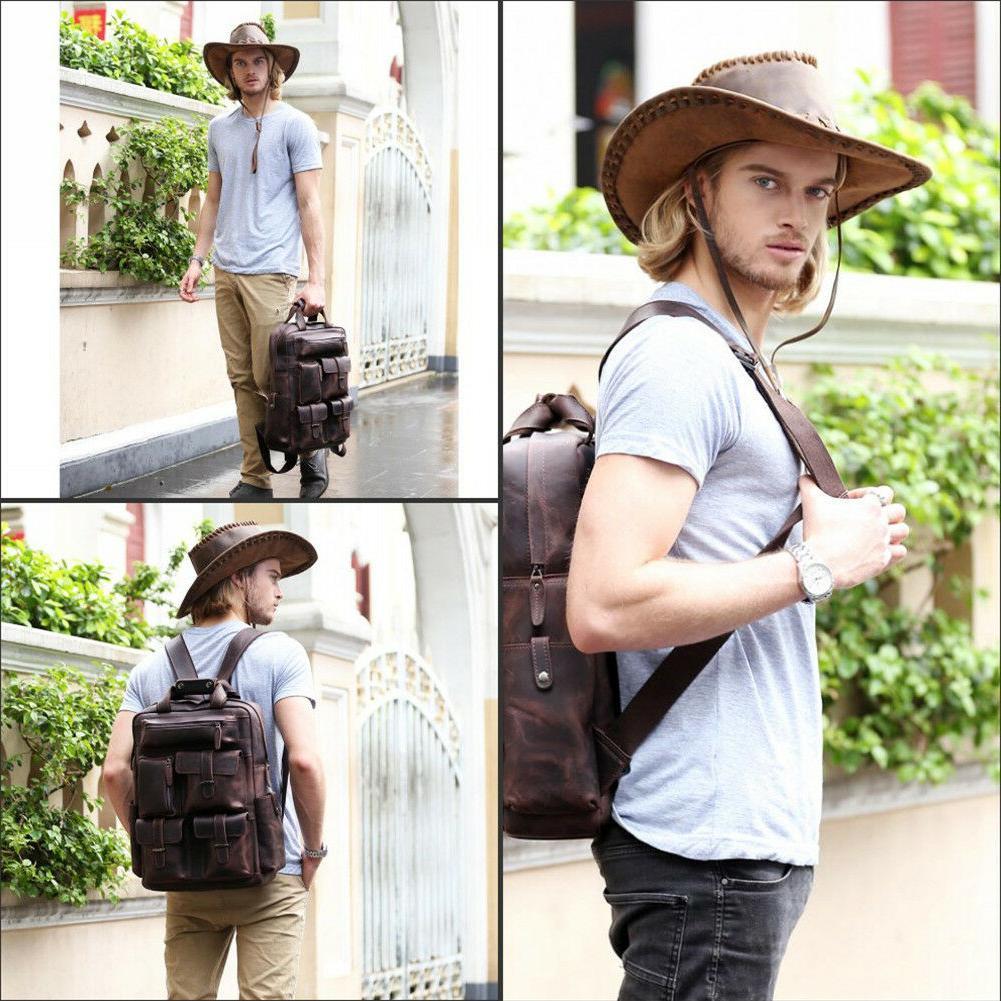 """Vintage Men Leather Backpack 17"""" Laptop Hiking On"""
