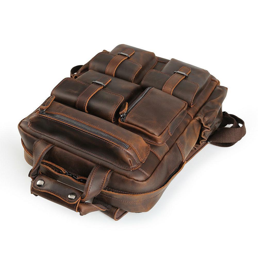 """Vintage Men Leather Backpack 17"""" Laptop Hiking Travel On"""