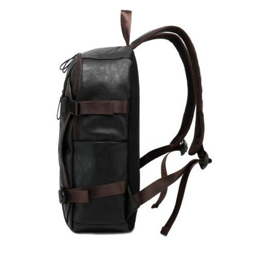 Mens Travel Backpack Satchel Leather Laptop Rucksack Shoulder
