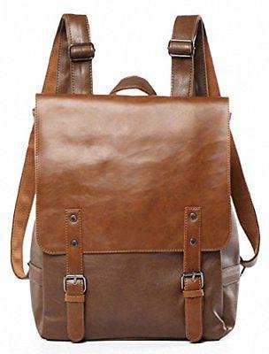 Kenox Vintage PU Leather Laptop Backpack Knapsack Rucksack W