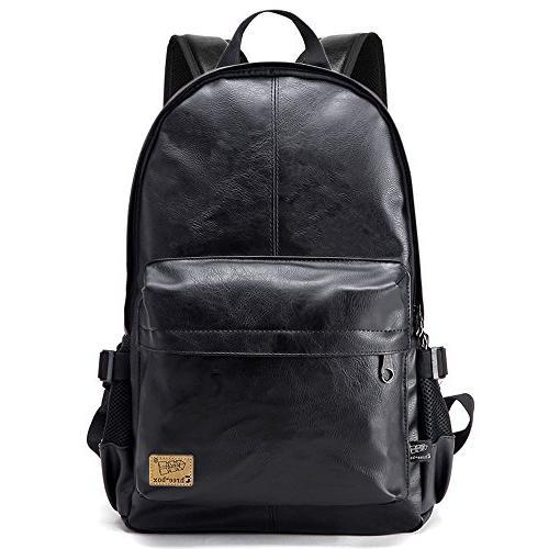 vintage pu leather laptop backpack