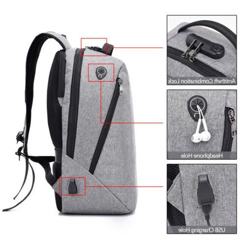 "Waterproof 15.6"" Laptop Backpack Men Women Bag USB Lock"