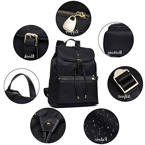 BOSTANTEN Waterproof Purse Laptop Nylon Bag Women Black