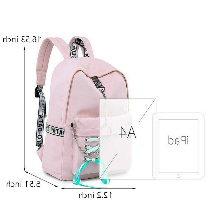 Waterproof School Bags Girl Charge Laptop