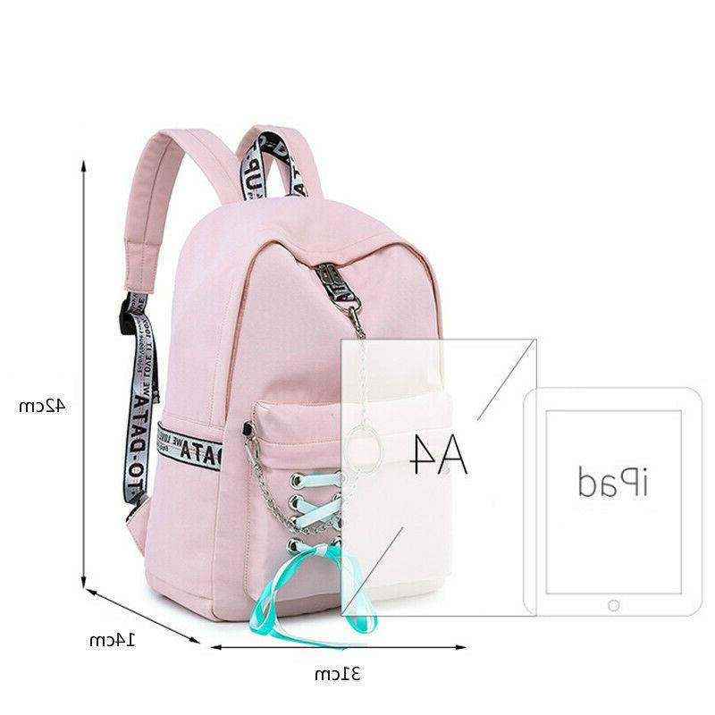 Waterproof School Bags for Girl USB Charge Travel Bagpack