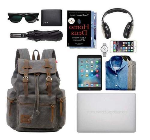 "Women 15"" 17"" Laptop Canvas Leather Travel Rucksack Satchel"