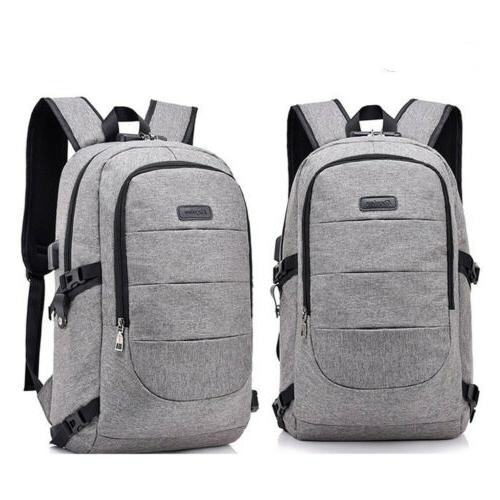 Women Men Backpack Port Shoulder Bookbag Laptop