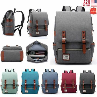 Women Canvas Leather Travel Rucksack Bag