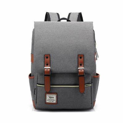 Women Canvas Leather Travel Sports Backpack Satchel Rucksack