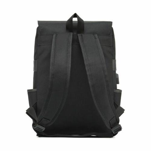 Women Men Canvas Leather Travel Rucksack Laptop Bag