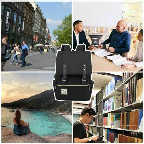 Women Girl Leather Rucksack Laptop Bag