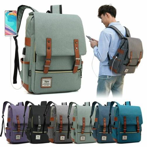 women men girl canvas leather travel backpack