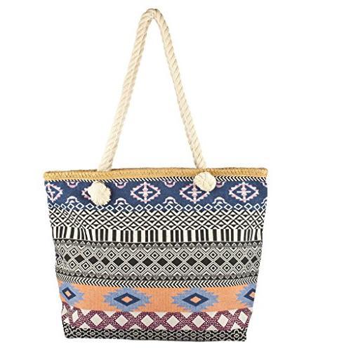 womens zip beach bag navy