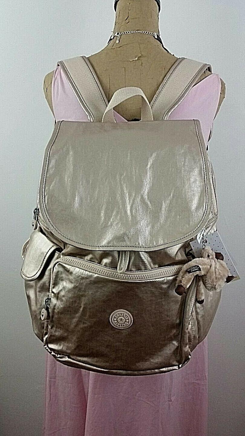 KIPLING ZAX Backpack Metallic Sparkly Gold Diaper Baby Bag S