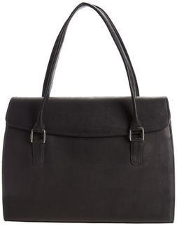 Piel Leather Ladies Computer Portfolio, Black, One Size