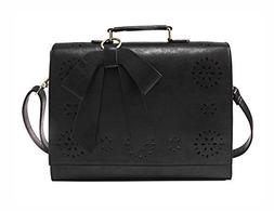 ECOSUSI Ladies PU Leather Laptop Bag Briefcase Crossbody Mes