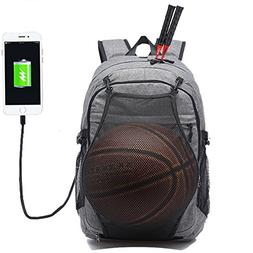 KEYNEW Laptop Backpack with Basketball Net USB Charging Port
