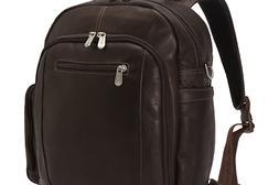Piel Leather Laptop Backpack/Shoulder Bag, Chocolate