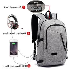 FLYMEI Laptop Backpack with USB Charging Port and Lock & Hea