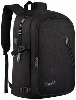 Mancro Laptop Backpack Water Resistant USB Charging Port Bla