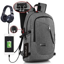 Laptop Backpack Waterproof Computer Shoulder Bag with USB Ch