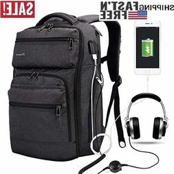 Laptop Backpack with USB Charging Port Headphone Port Busine