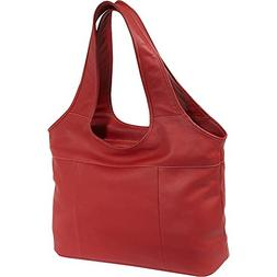 Piel Leather Laptop Hobo, Red, One Size