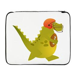 17 Inch Laptop Sleeve Football Playing Dinosaur