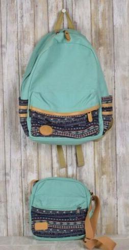 Leaper Casual Lightweight Backpack 2pcs Canvas Laptop Bag Aq