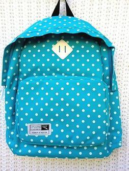 Leaper  Polka Dot Teal Canvas School Backpack Shoulder Bag L