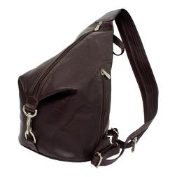Piel Leather 3-Zip Hobo Sling - Chocolate