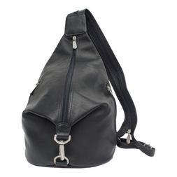Piel Leather 3-Zip Hobo Sling - Black