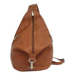 Piel Leather 3-Zip Hobo Sling - Saddle