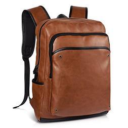 Vbiger Leather Backpack School Backpack Durable for Travel C