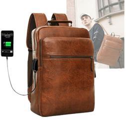 Leather Backpacks for Men College Bag Laptop Business Rucksa