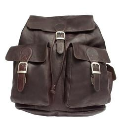 Piel Leather Large Buckle-Flap Backpack - Chocolate