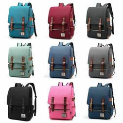 Leather Canvas Backpack Men Women Laptop Bag Rucksack Satche