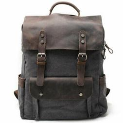 Kenox Leather Canvas Rucksack Laptop Backpack College School