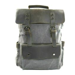 Kenox Leather Canvas Rucksack Laptop Backpack Grey