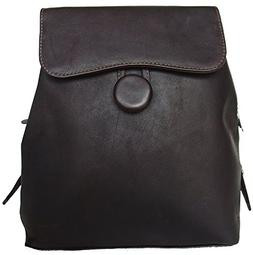 Piel Leather Flap-Over Button Backpack - Chocolate