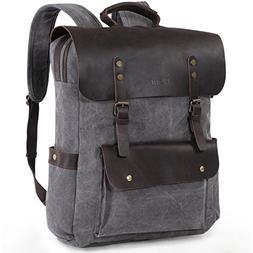Lifewit 17.3 inch Leather Laptop Backpack Vintage Canvas Cas