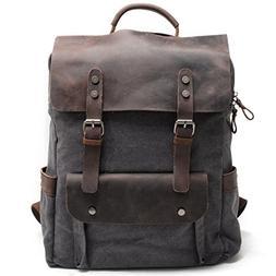 Kenox Leather Canvas Rucksack Laptop Backpack College School