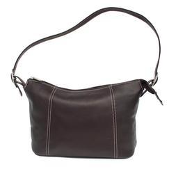 Piel Leather Medium Shoulder Bag - Chocolate