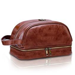 KIPOZI PU Leather Travel Bag,Shaving Dopp Kit bag for Man,To