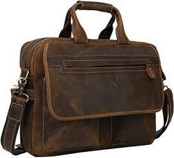 "Iswee Mens Leather Messenger Bag 14"" or 16"" or 17"" Laptop Ba"