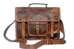 15 Inch Leather Vintage Rustic Crossbody Messenger Satchel B