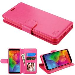 FOR LG Q7+ PLUS PINK WALLET FLIP FOLIO CARD SLOT CASE STAND