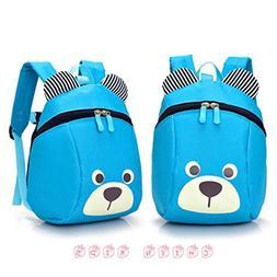FULLIN Light Blue Cute Cartoon Bear Children School Bag Ruck