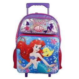"Disney Little Mermaid Ariel 16"" Large Rolling Backpack for G"